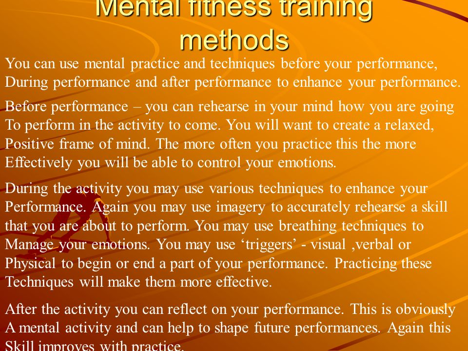 Mental fitness training methods