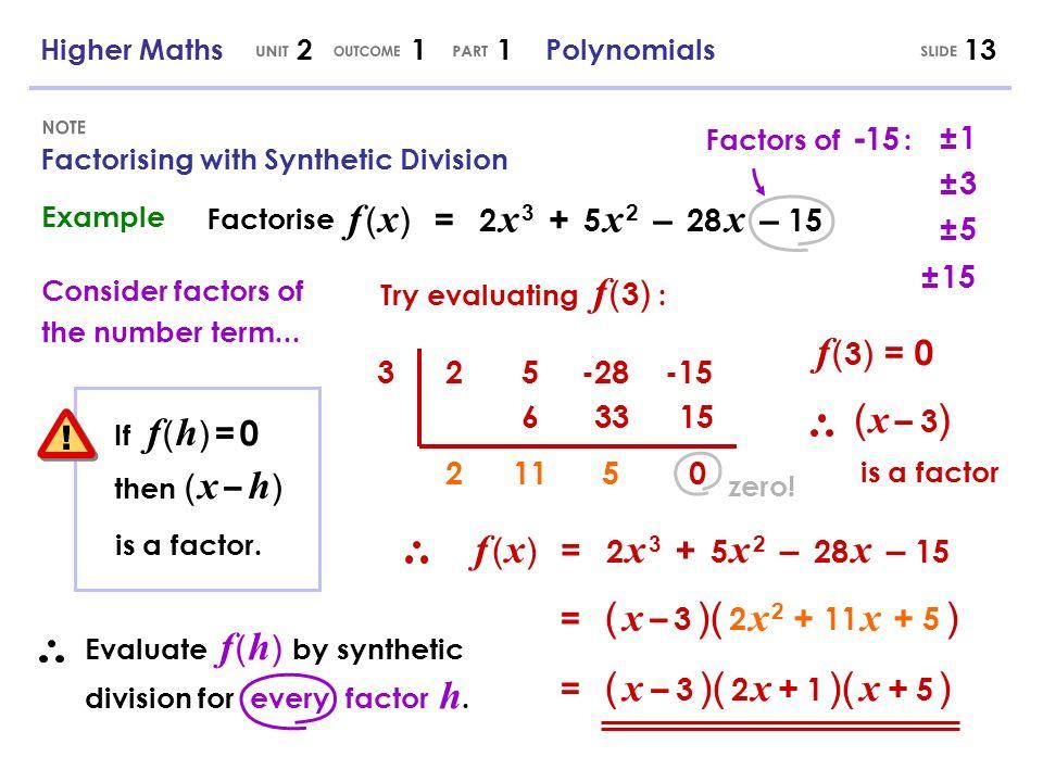 UNIT OUTCOME PART SLIDE NOTE ! f ( x) = 2 x 3 + 5 x 2 – 28 x – 15
