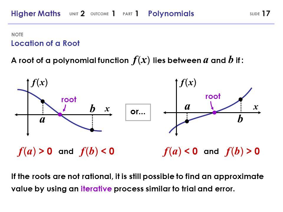 UNIT OUTCOME PART SLIDE NOTE x x a a b b f (a) > 0 f (b) < 0