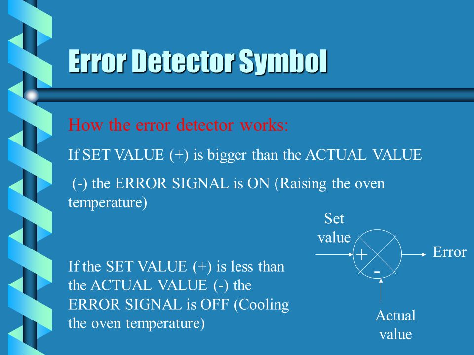 Error Detector Symbol + - How the error detector works: