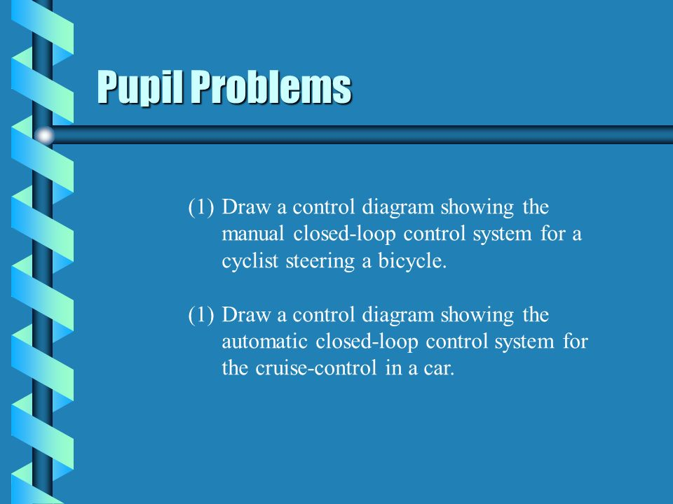 Pupil Problems Draw a control diagram showing the manual closed-loop control system for a cyclist steering a bicycle.