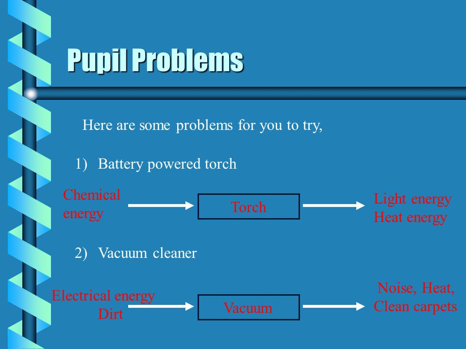 Pupil Problems Here are some problems for you to try,