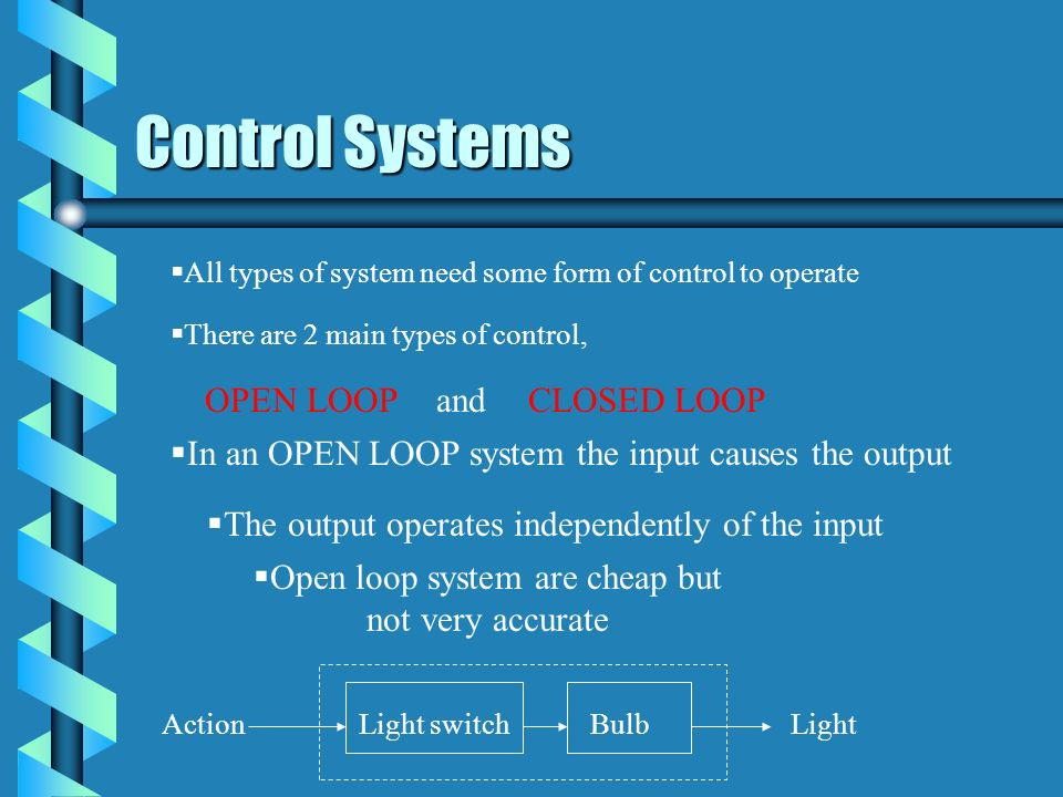 Control Systems OPEN LOOP and CLOSED LOOP