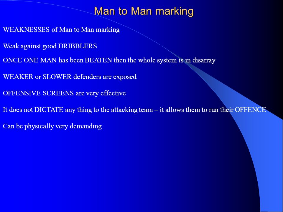 Man to Man marking WEAKNESSES of Man to Man marking