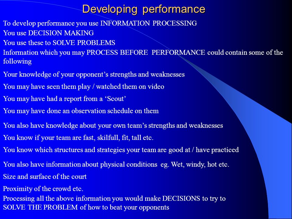 Developing performance