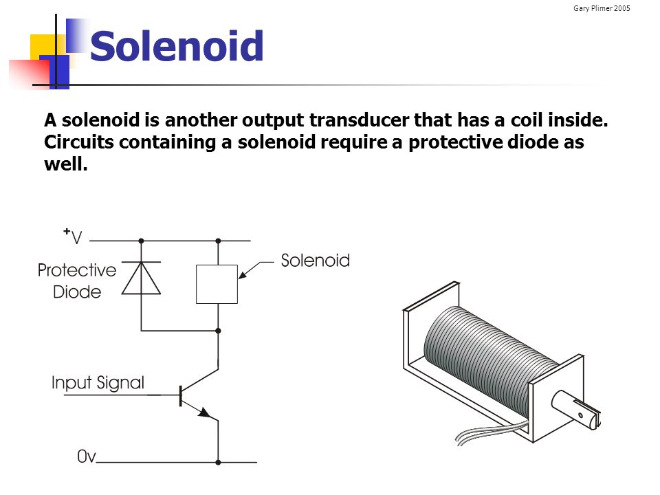 Solenoid A solenoid is another output transducer that has a coil inside.