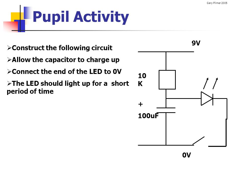 Pupil Activity 9V Construct the following circuit