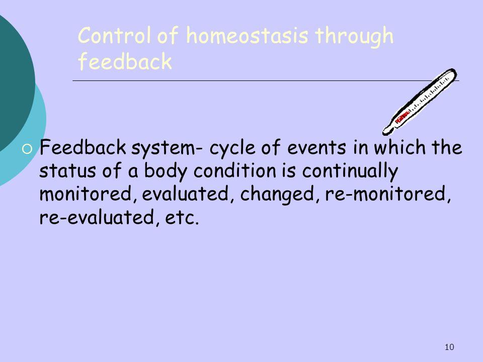Control of homeostasis through feedback