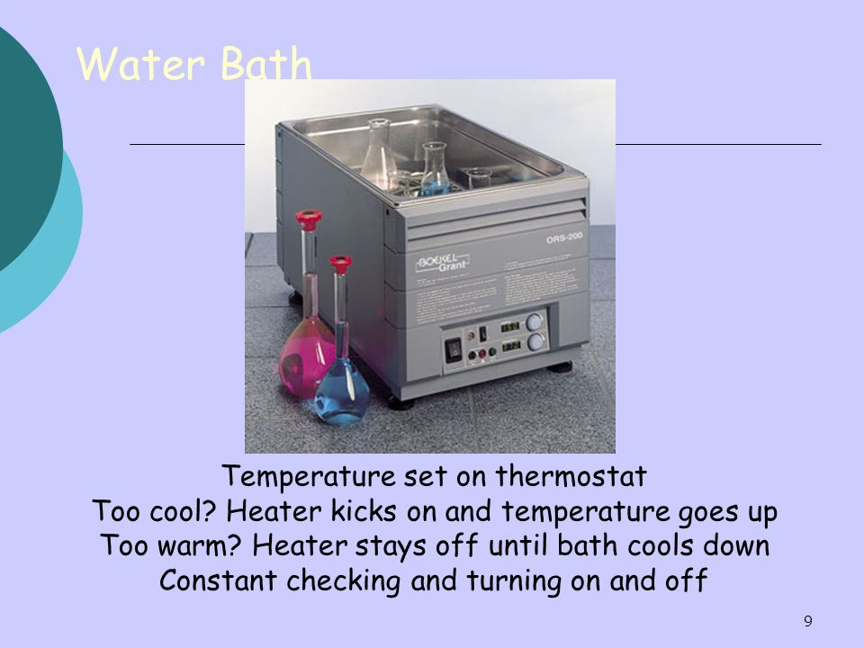 Water Bath Temperature set on thermostat
