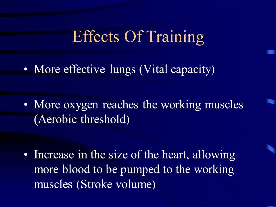 Effects Of Training More effective lungs (Vital capacity)