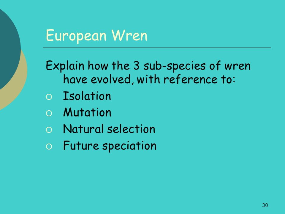 European Wren Explain how the 3 sub-species of wren have evolved, with reference to: Isolation. Mutation.