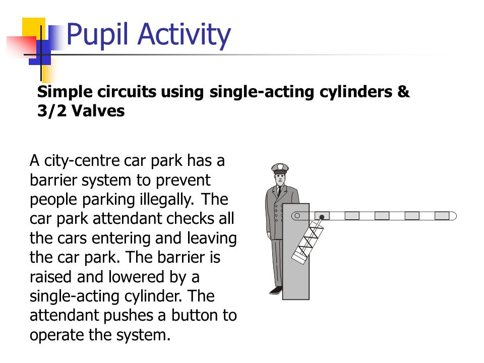 Pupil Activity Simple circuits using single-acting cylinders & 3/2 Valves.