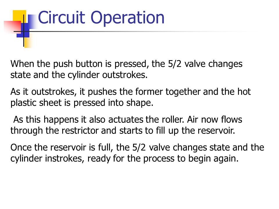 Circuit Operation When the push button is pressed, the 5/2 valve changes state and the cylinder outstrokes.