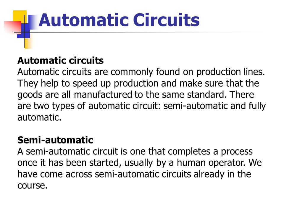 Automatic Circuits Automatic circuits