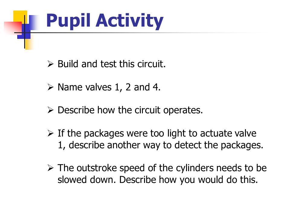 Pupil Activity Build and test this circuit. Name valves 1, 2 and 4.