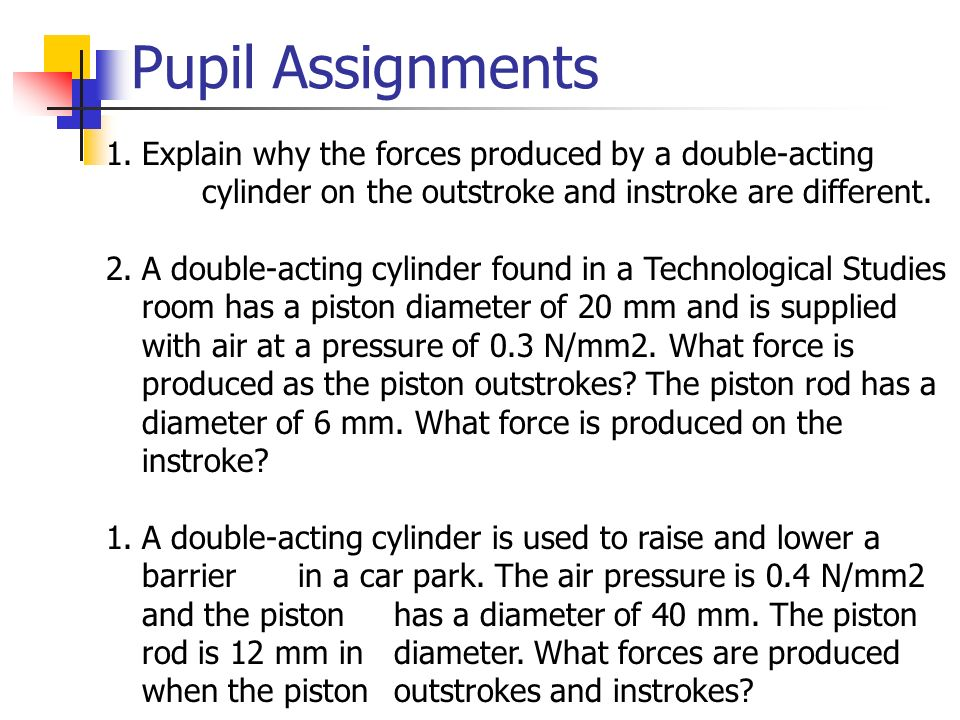 Pupil Assignments Explain why the forces produced by a double-acting cylinder on the outstroke and instroke are different.