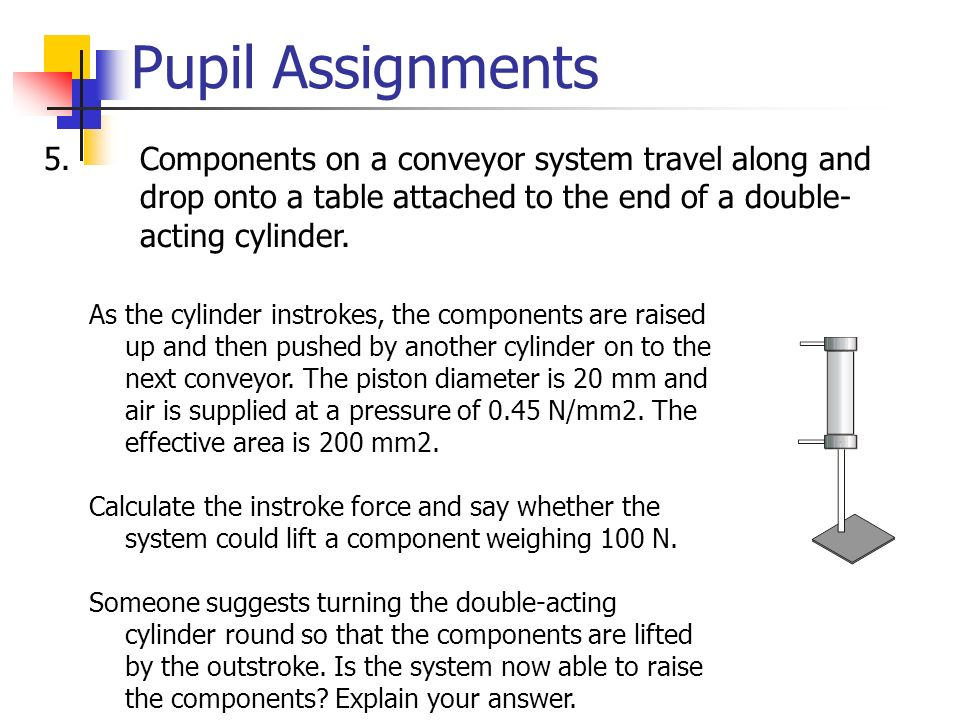 Pupil Assignments Components on a conveyor system travel along and drop onto a table attached to the end of a double- acting cylinder.