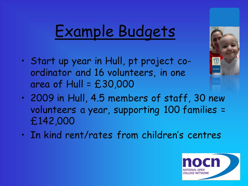 Example Budgets Start up year in Hull, pt project co-ordinator and 16 volunteers, in one area of Hull = £30,000.