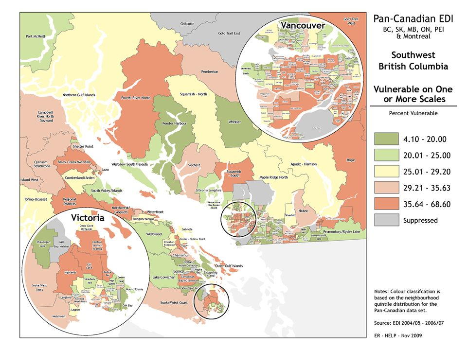 Maps show us: Large local area differences in the proportion of developmentally vulnerable children; The high proportion of avoidable vulnerability; The degree to which socioeconomic context explains and does not explain variations in early development; Which communities are doing better or worse than predicted…….to set up the study of 'why'; Change over time
