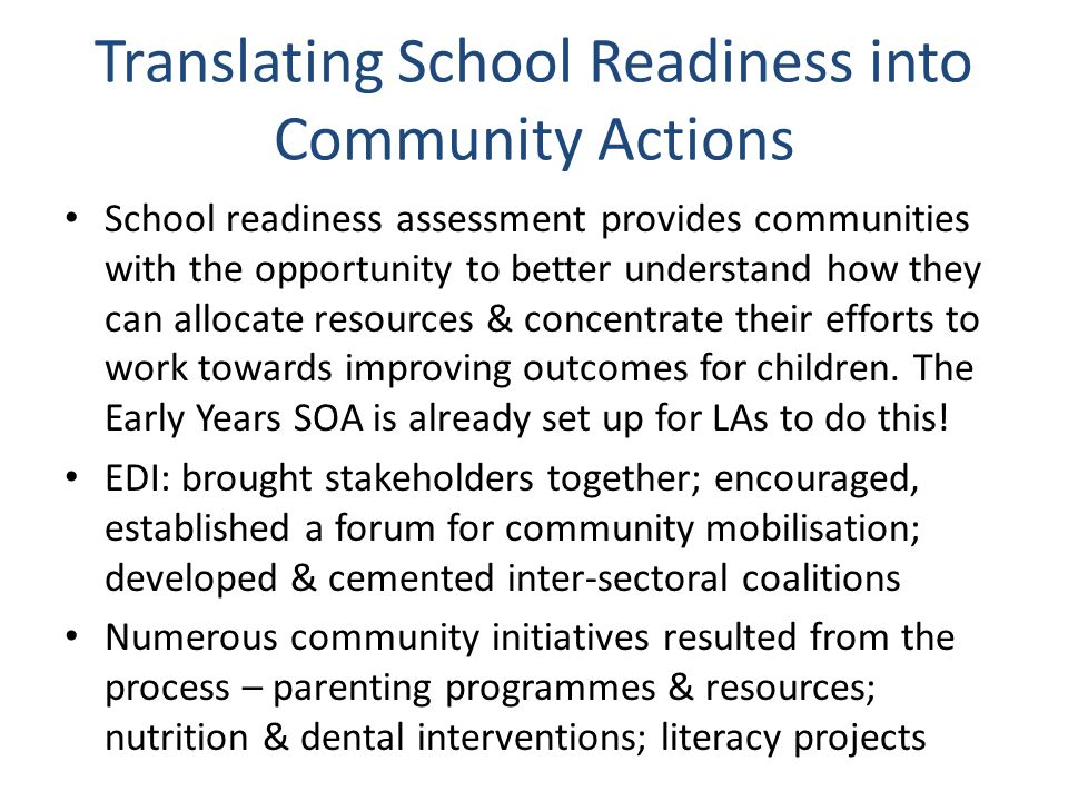 Translating School Readiness into Community Actions