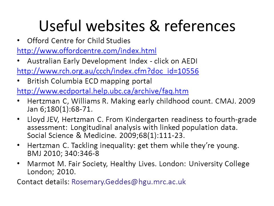 Useful websites & references