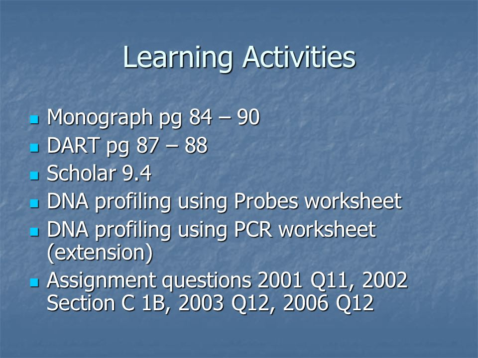 Learning Activities Monograph pg 84 – 90 DART pg 87 – 88 Scholar 9.4