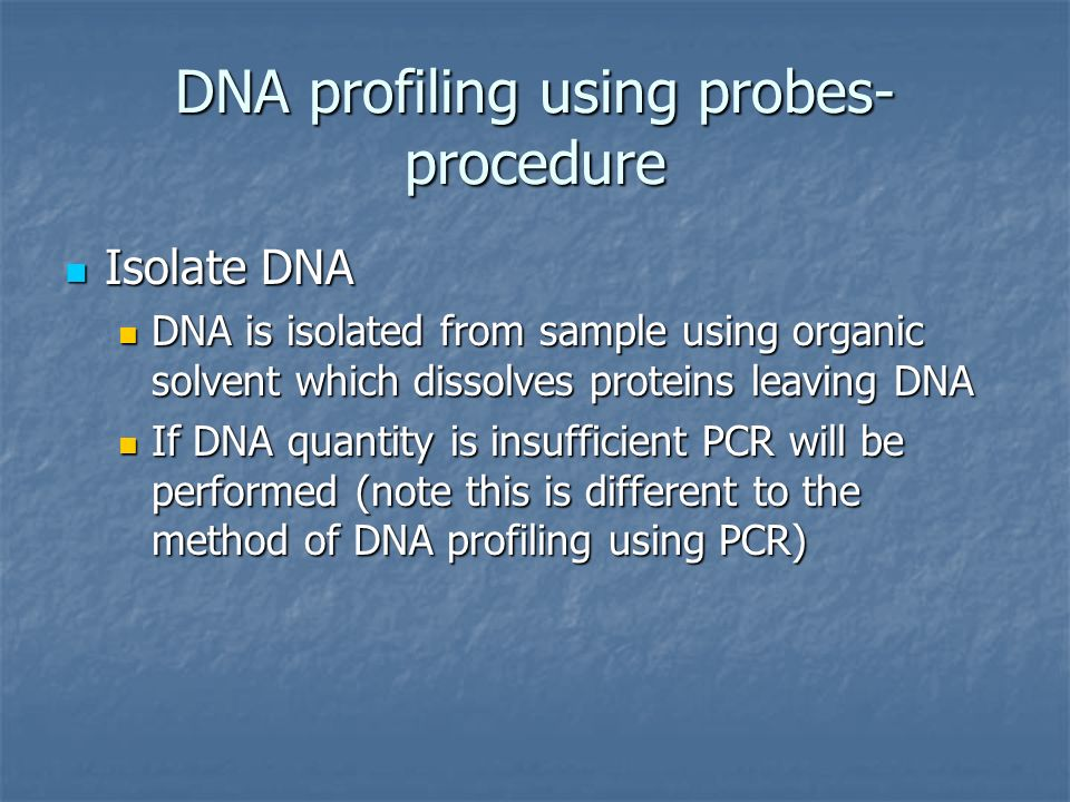 DNA profiling using probes- procedure