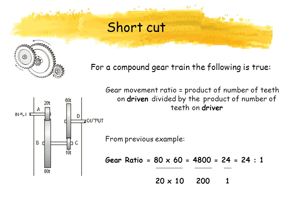 Short cut For a compound gear train the following is true: