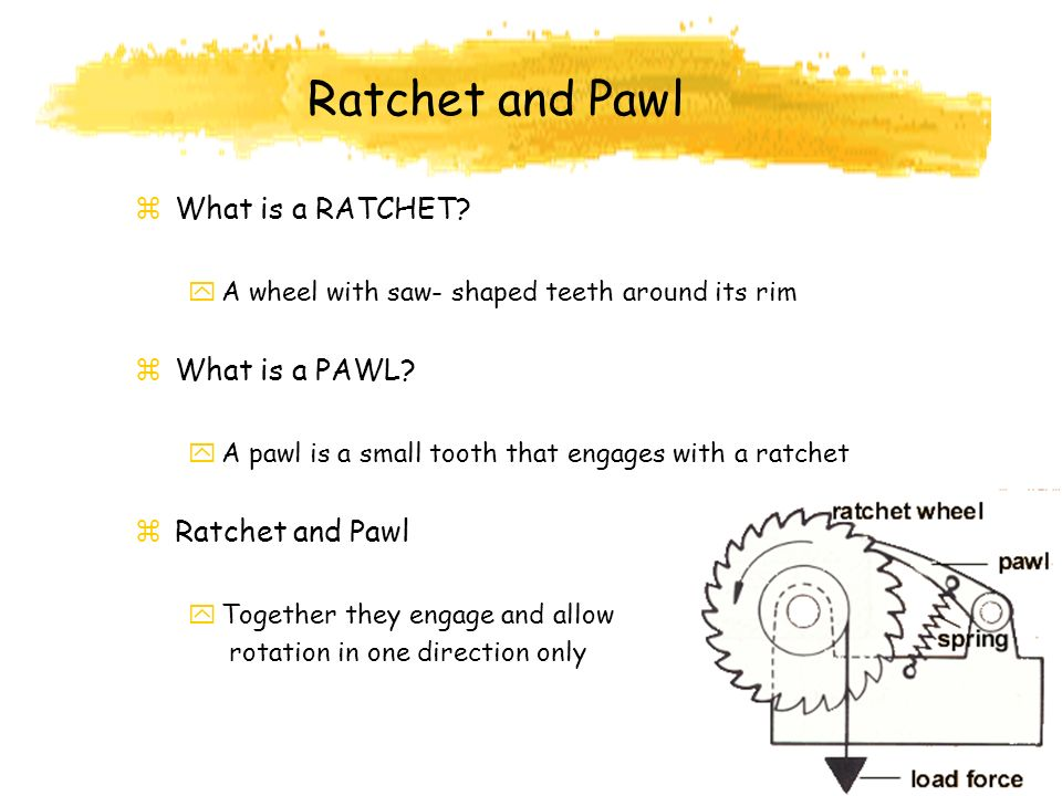 Ratchet and Pawl What is a RATCHET What is a PAWL Ratchet and Pawl
