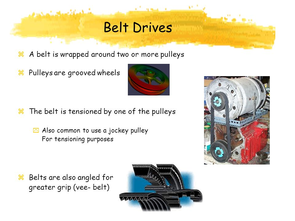 Belt Drives A belt is wrapped around two or more pulleys