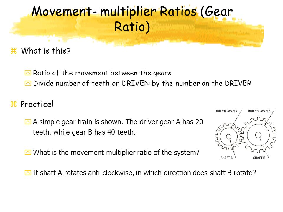Movement- multiplier Ratios (Gear Ratio)