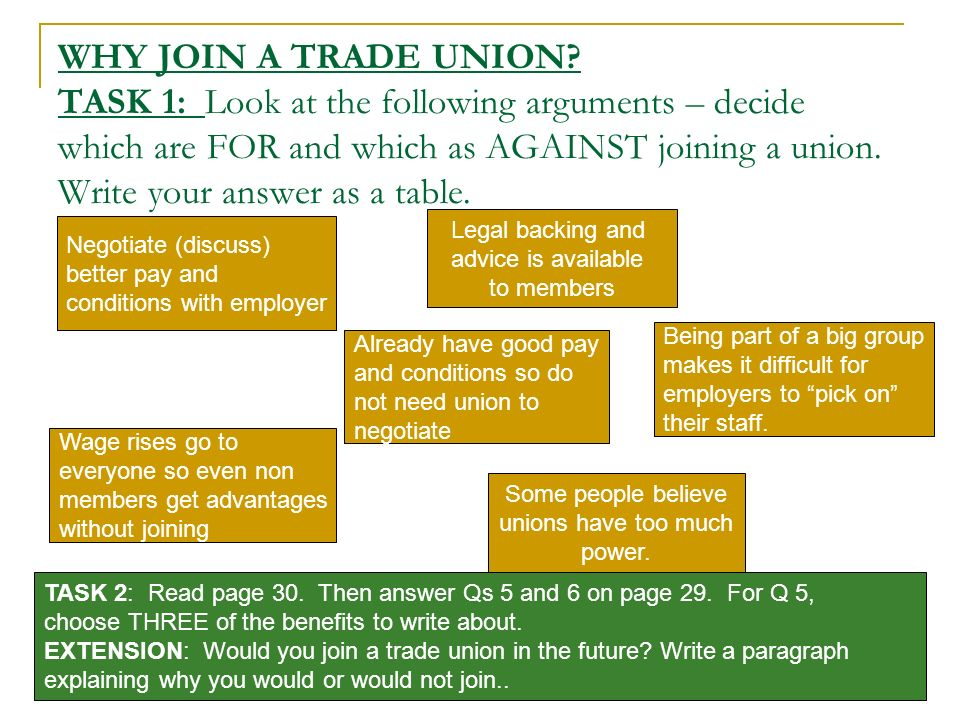 WHY JOIN A TRADE UNION TASK 1: Look at the following arguments – decide which are FOR and which as AGAINST joining a union. Write your answer as a table.