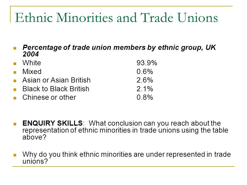 Ethnic Minorities and Trade Unions