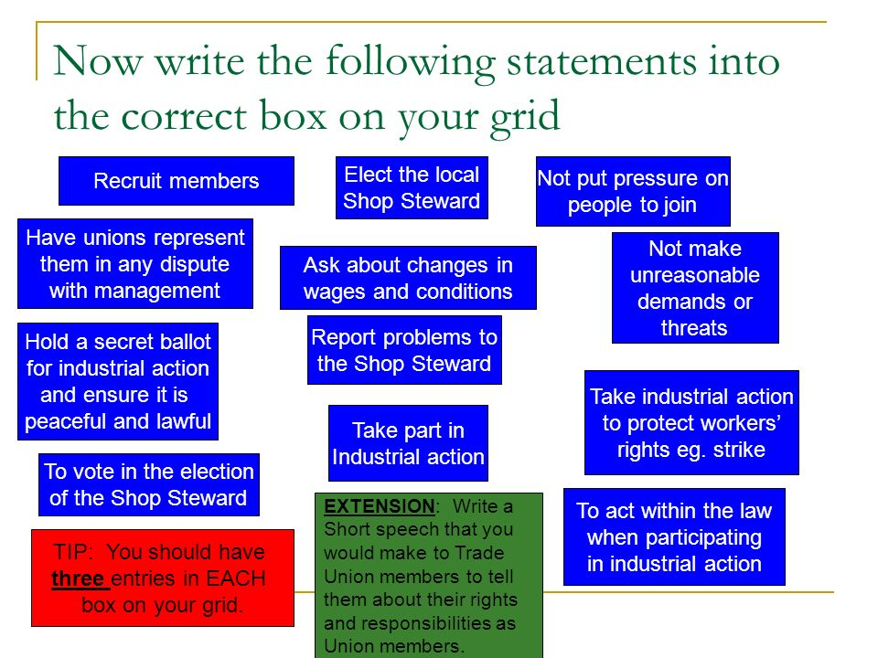 Now write the following statements into the correct box on your grid
