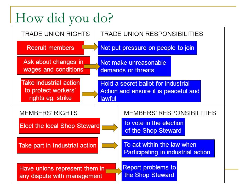 How did you do TRADE UNION RIGHTS TRADE UNION RESPONSIBILITIES
