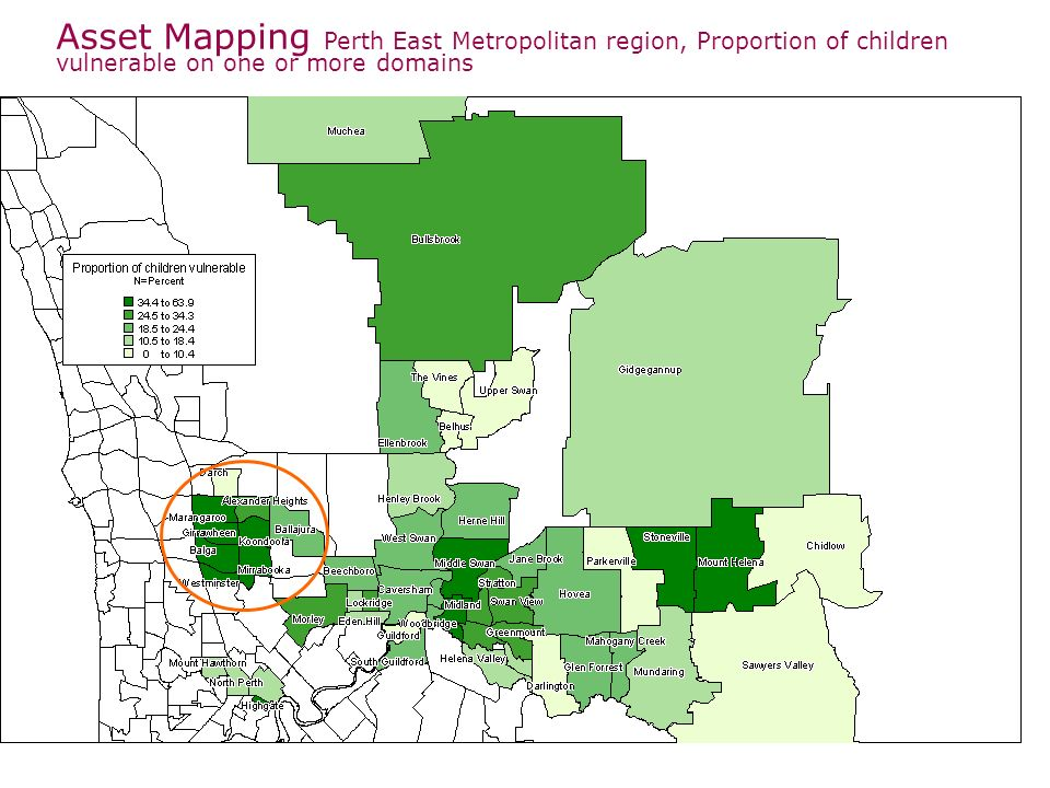 Asset Mapping Perth East Metropolitan region, Proportion of children vulnerable on one or more domains