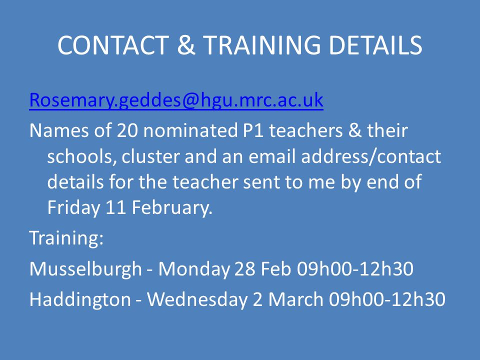 CONTACT & TRAINING DETAILS