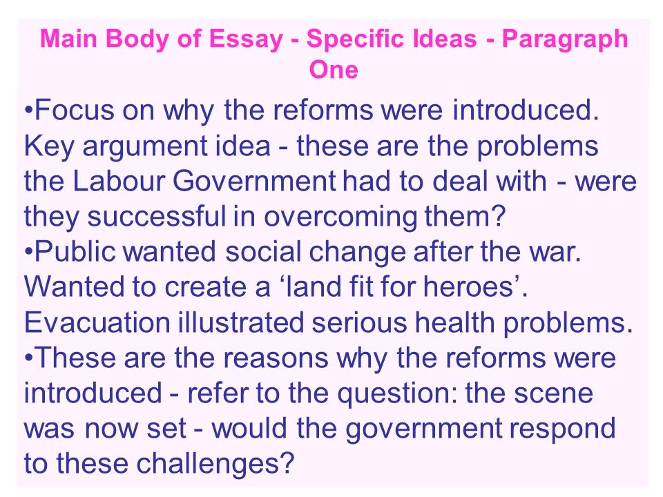 Main Body of Essay - Specific Ideas - Paragraph One