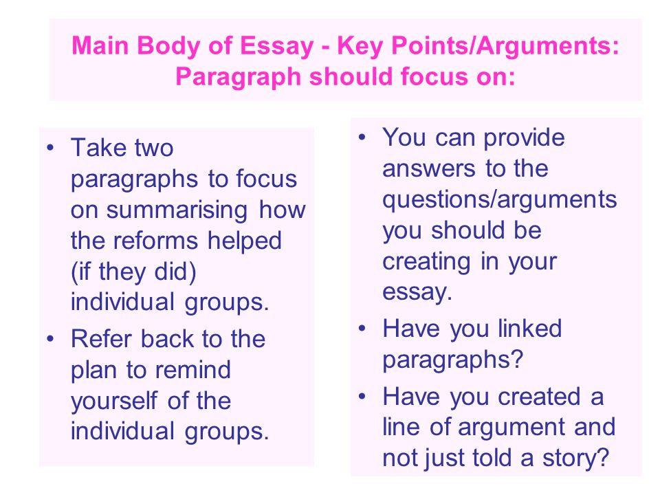 Main Body of Essay - Key Points/Arguments: Paragraph should focus on: