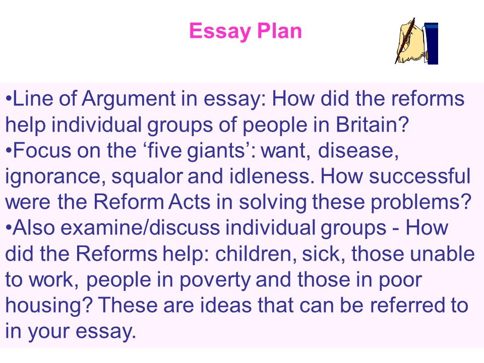 Essay Plan Line of Argument in essay: How did the reforms help individual groups of people in Britain