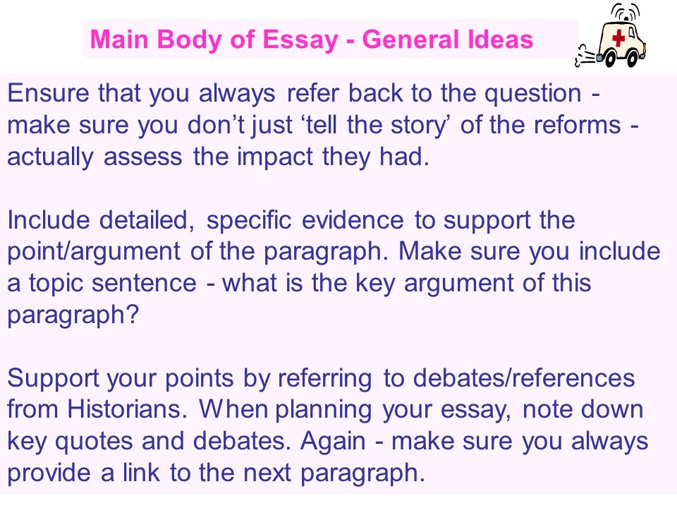 Main Body of Essay - General Ideas