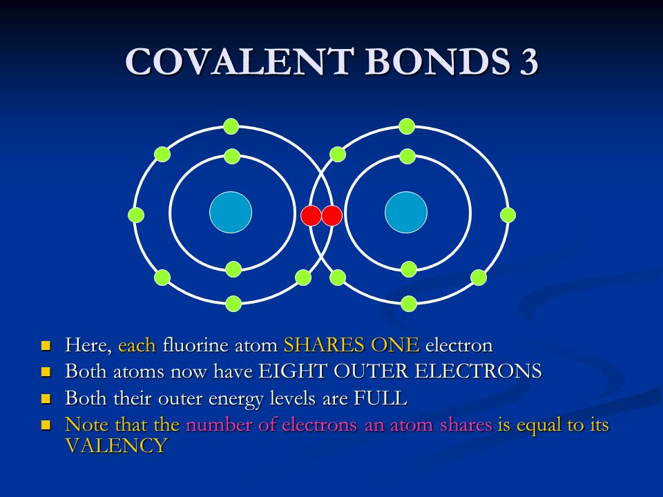 COVALENT BONDS 3 Here, each fluorine atom SHARES ONE electron