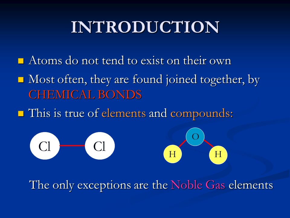 INTRODUCTION Cl Atoms do not tend to exist on their own