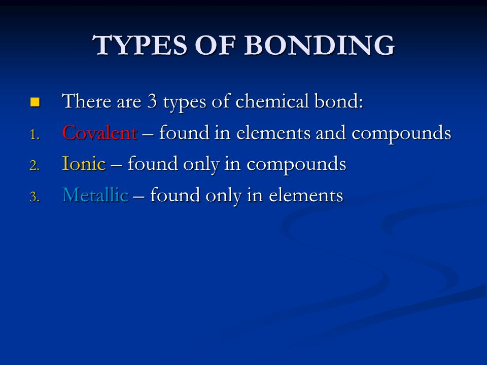 TYPES OF BONDING There are 3 types of chemical bond: