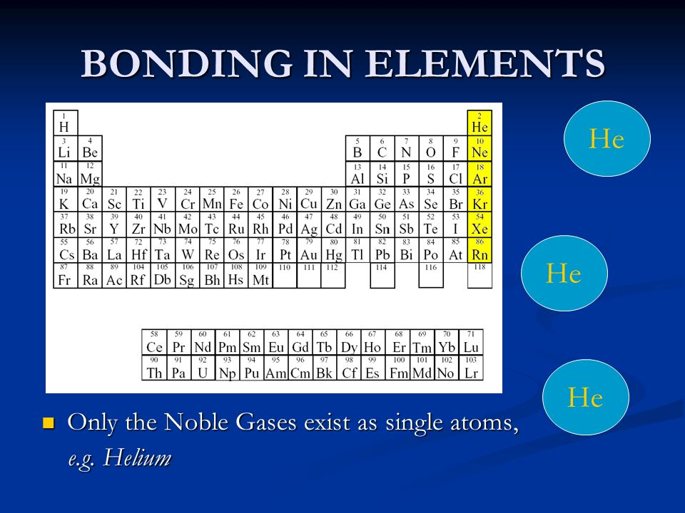 BONDING IN ELEMENTS He Only the Noble Gases exist as single atoms,