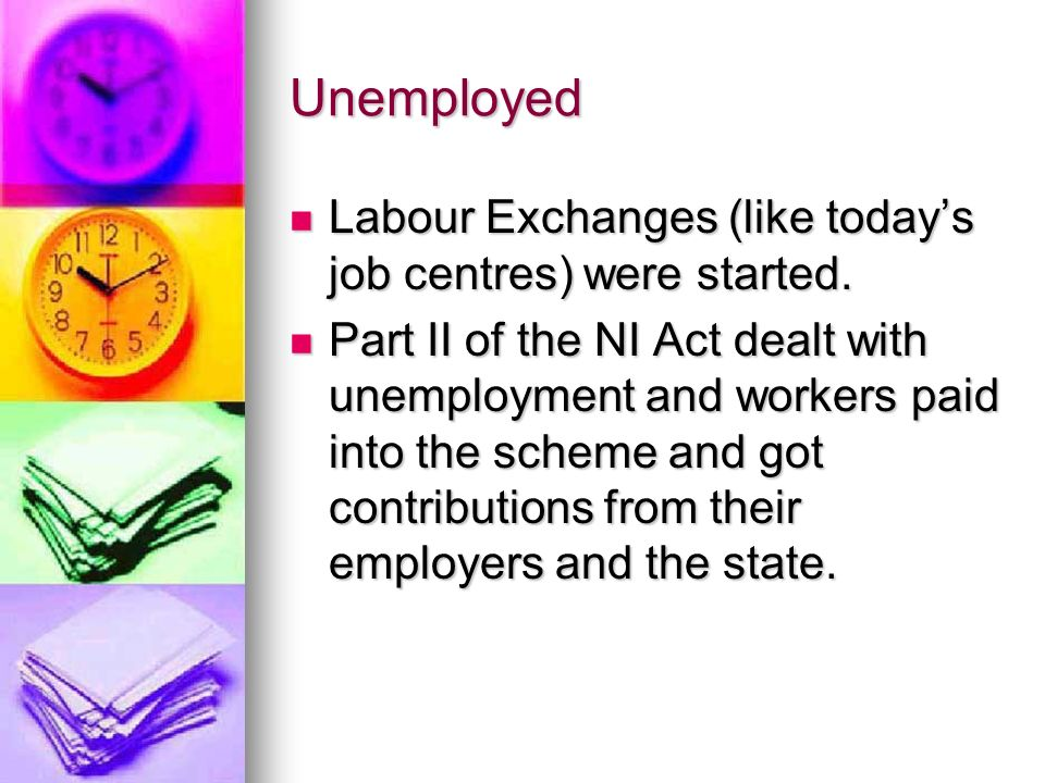 Unemployed Labour Exchanges (like today's job centres) were started.