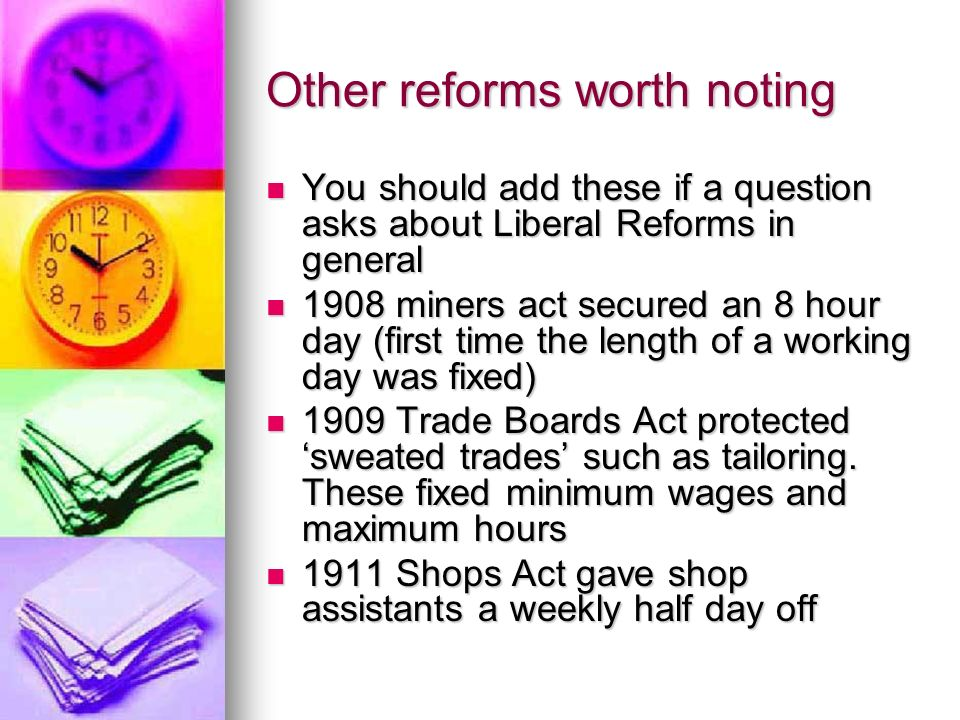 Other reforms worth noting