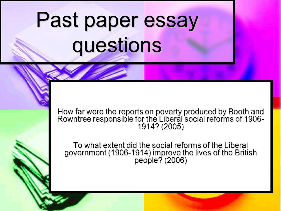 Past paper essay questions