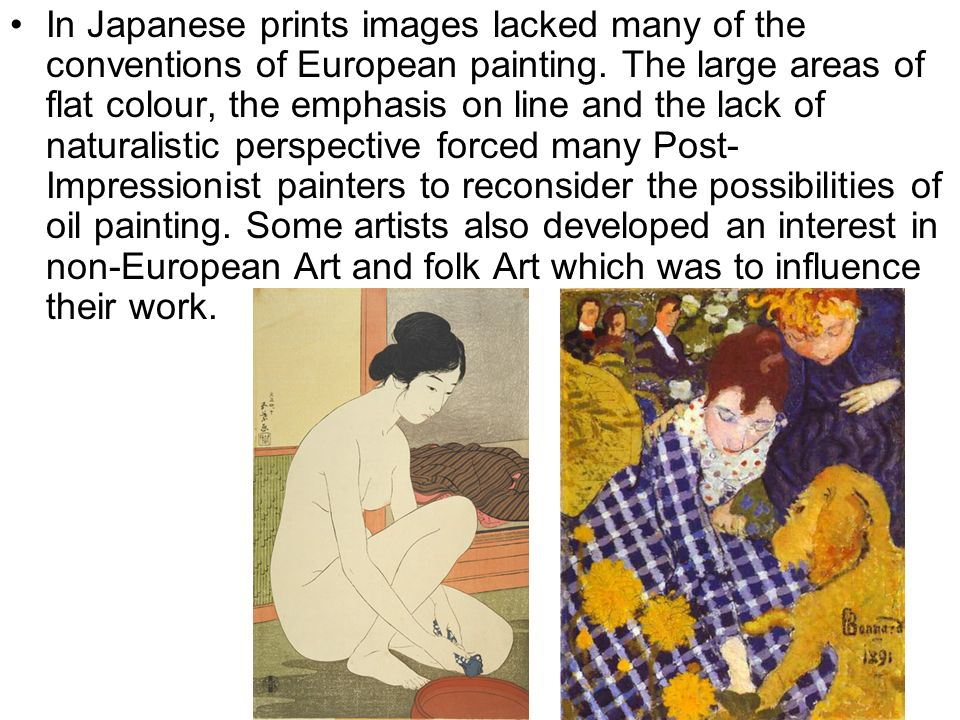 In Japanese prints images lacked many of the conventions of European painting.