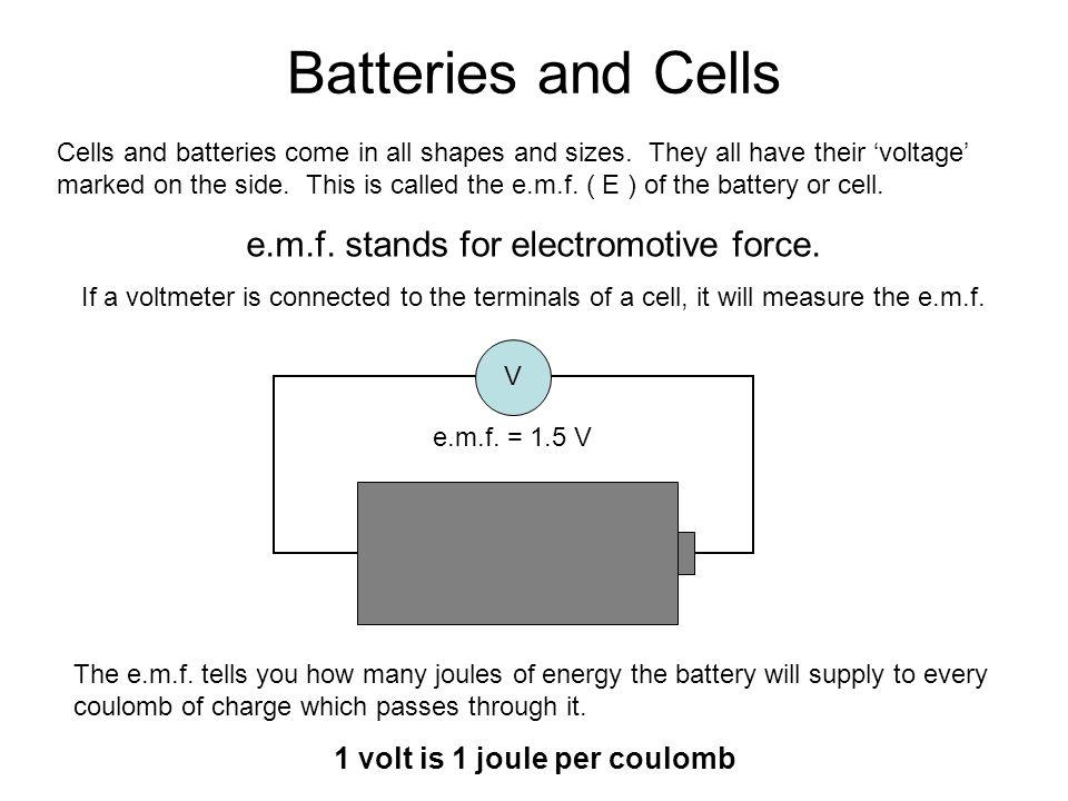 1 volt is 1 joule per coulomb